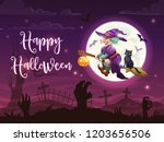 halloween danger witch with... | Shutterstock .eps vector #1203656506