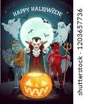 happy halloween pumpkin lantern ... | Shutterstock .eps vector #1203657736
