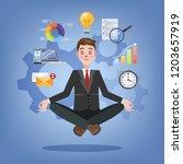 businessman in lotus pose... | Shutterstock .eps vector #1203657919