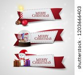 set of christmas ribbons with... | Shutterstock .eps vector #1203666403