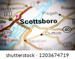 scottsboro. alabama. usa on a... | Shutterstock . vector #1203674719