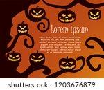 tree and pumpkin silhouette... | Shutterstock .eps vector #1203676879