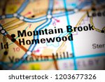 mountain brook. alabama. usa on ... | Shutterstock . vector #1203677326