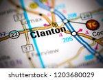 clanton. alabama. usa on a map | Shutterstock . vector #1203680029