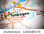 tuskegee. alabama. usa on a map | Shutterstock . vector #1203680170