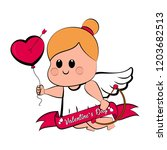 cute cupid girl icon with bow... | Shutterstock .eps vector #1203682513