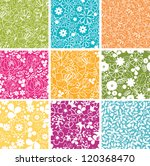 Stock vector set of nine spring flowers seamless patterns backgrounds 120368470