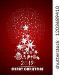 christmas and new year 2019... | Shutterstock .eps vector #1203689410