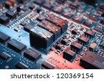 microchips on a circuit board | Shutterstock . vector #120369154