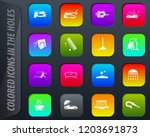 car wash colored icons in the... | Shutterstock .eps vector #1203691873