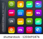 car shop colored icons in the... | Shutterstock .eps vector #1203691876