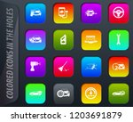 car shop colored icons in the... | Shutterstock .eps vector #1203691879
