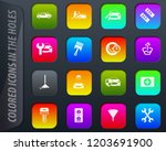 car shop colored icons in the... | Shutterstock .eps vector #1203691900