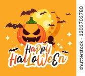 vector happy halloween party... | Shutterstock .eps vector #1203703780
