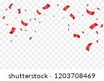 many falling red tiny confetti... | Shutterstock .eps vector #1203708469
