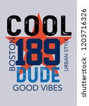 boston cool dude t shirt design | Shutterstock .eps vector #1203716326