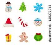 christmas cookie set of nine... | Shutterstock . vector #120373768