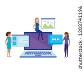 laptop with mini people working | Shutterstock .eps vector #1203741196