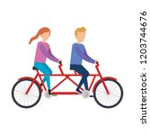 couple ridding bicycle tandem | Shutterstock .eps vector #1203744676