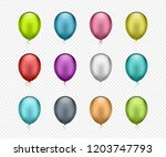 set of colorful helium balloons ... | Shutterstock .eps vector #1203747793