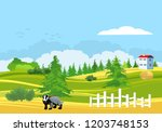 countryside landscape  house on ... | Shutterstock .eps vector #1203748153