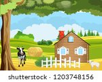 cow near the village house ... | Shutterstock .eps vector #1203748156