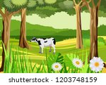 cow in the green meadow ... | Shutterstock .eps vector #1203748159