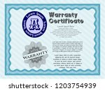 light blue vintage warranty... | Shutterstock .eps vector #1203754939