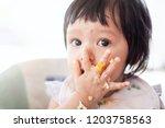 cute baby asian child girl... | Shutterstock . vector #1203758563