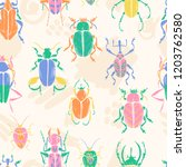 vector doodle seamless pattern... | Shutterstock .eps vector #1203762580