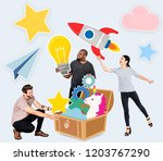 creative people with a treasure ... | Shutterstock . vector #1203767290