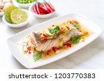 steamed grouper fish fillet... | Shutterstock . vector #1203770383
