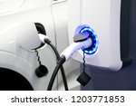 power supply for electric car... | Shutterstock . vector #1203771853