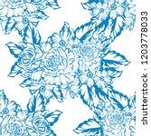 flower print in bright colors.... | Shutterstock .eps vector #1203778033
