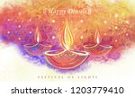 ancient paintings of diwali... | Shutterstock .eps vector #1203779410