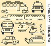 set of sketch various cute... | Shutterstock .eps vector #1203786349