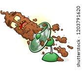 poop hitting the fan cartoon...   Shutterstock .eps vector #1203791620