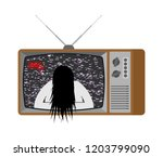 scary tv. halloween news old... | Shutterstock .eps vector #1203799090