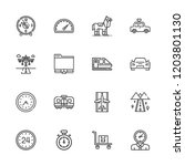 collection of 16 speed outline... | Shutterstock .eps vector #1203801130