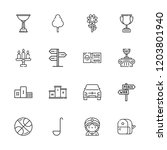 collection of 16 one outline... | Shutterstock .eps vector #1203801940