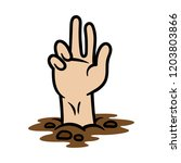 cartoon hand coming out of the... | Shutterstock .eps vector #1203803866
