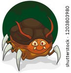 smiling mutant flea with four... | Shutterstock .eps vector #1203803980