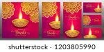 happy diwali festival card with ... | Shutterstock .eps vector #1203805990