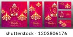 happy diwali festival card with ... | Shutterstock .eps vector #1203806176