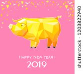 happy new year 2019  greeting... | Shutterstock . vector #1203822940