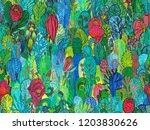 seamless pattern with lush... | Shutterstock . vector #1203830626