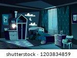 lit by moonlight children room... | Shutterstock .eps vector #1203834859