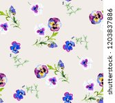 wild pansy watercolor... | Shutterstock . vector #1203837886