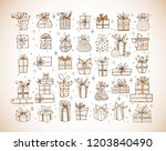 big set of doodle christmas... | Shutterstock .eps vector #1203840490