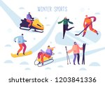 winter sport activities with... | Shutterstock .eps vector #1203841336